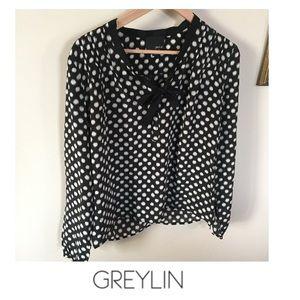 Greylin Black & Cream Polka Dot Blouse